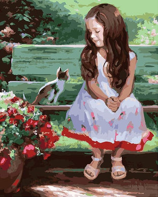 Girl smiling at kitten on bench - DIY Paint By Numbers Kits for Adults