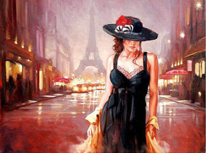 Woman in a back dress in Paris - DIY Paint By Numbers Kits for Adults