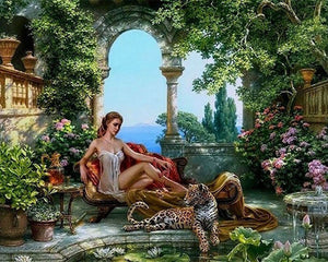 Fairy Tale Palace with Woman and Tiger