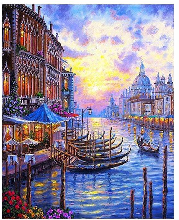 Venice at purple sunset