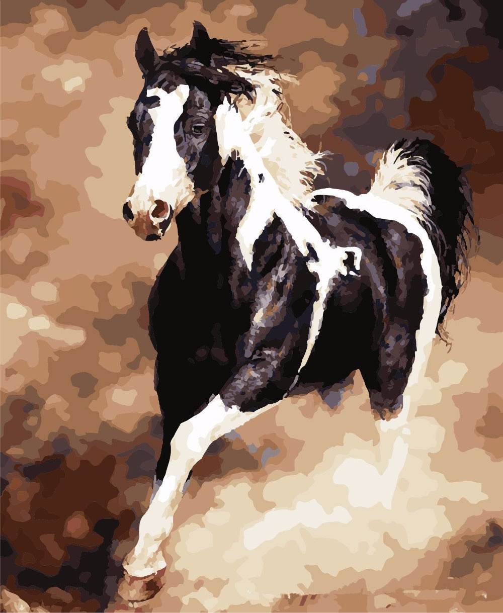 Black white horse diy paint by numbers kits for adults