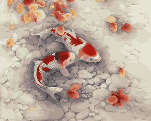 Two koi fish in a rock pond - DIY Paint By Numbers Kits for Adults