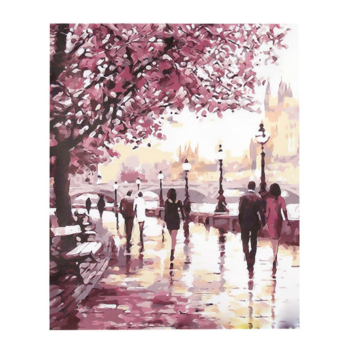 Cherry blossom tree by sidewalk - DIY Paint By Numbers Kits for Adults