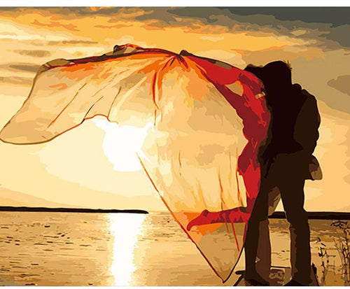 Kiss by the sunset with flyaway scarf - DIY Paint By Numbers Kits for Adults