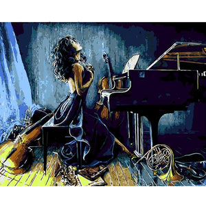 Female musician on the piano with violins - DIY Paint By Numbers Kits for Adults