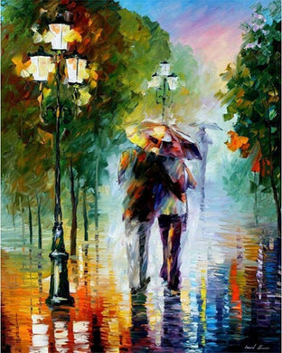 Colorful romance under the rain