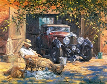 Man resting by vintage car in the sun - DIY Paint By Numbers Kits for Adults