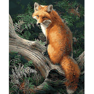 Fox on tree branch - DIY Paint By Numbers Kits for Adults