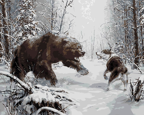 Bear fights with wolf in snow