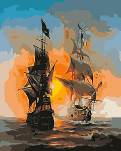 White and black ships at sunset - DIY Paint By Numbers Kits for Adults