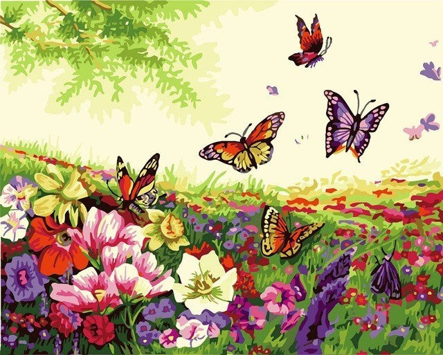 Butterflies Amongst A Field Of Flowers Paint By Numbers