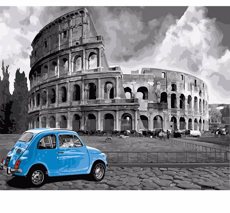 Rome Colleseum with blue car - DIY Paint By Numbers Kits for Adults