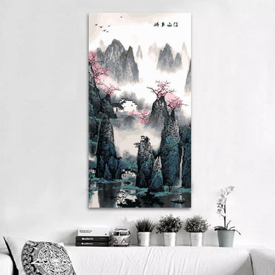Peaceful oriental scenery (40cm x 80cm)