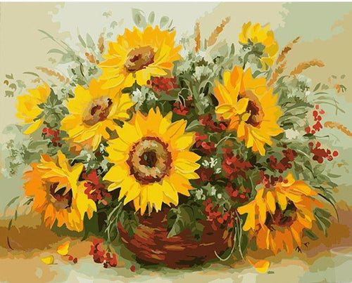 Large sunflowers in a vase