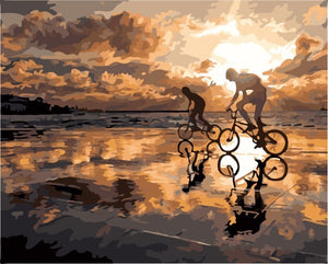 Two cycling on the beach at sunset - DIY Paint By Numbers Kits for Adults