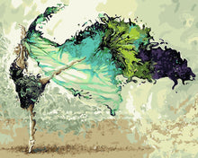 Dancing ballerina in green - DIY Paint By Numbers Kits for Adults