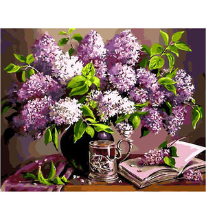 Purple flowers in vase - DIY Paint By Numbers Kits for Adults