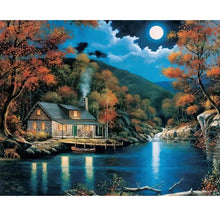 House by the river under the moonlight - DIY Paint By Numbers Kits for Adults