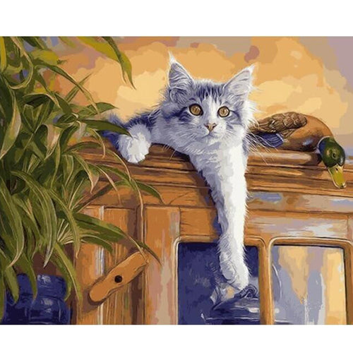 White cat resting on a cabinet - DIY Paint By Numbers Kits for Adults