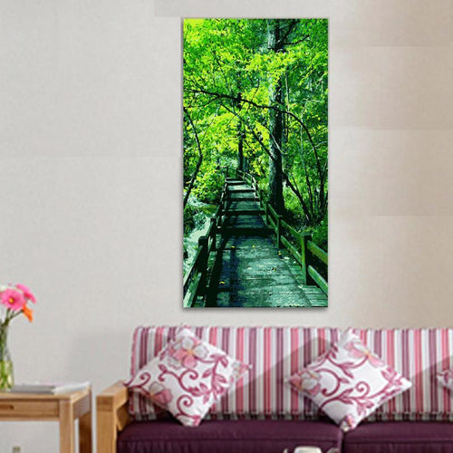 Bridge into the green forest (40cm x 80cm)