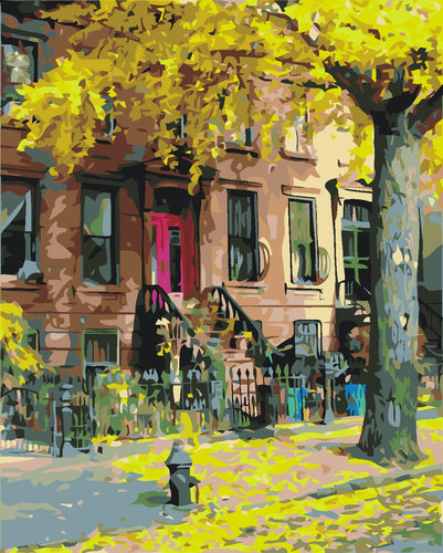 City apartment in autumn - DIY Paint By Numbers Kits for Adults