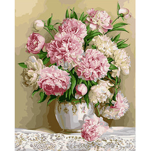 Pink and white peonies - DIY Paint By Numbers Kits for Adults