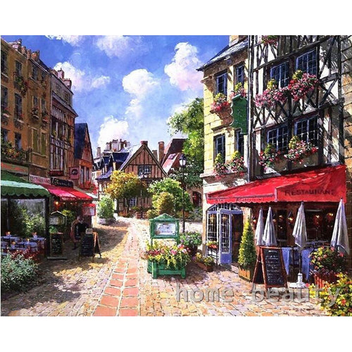 Serene village featuring a brick road - DIY Paint By Numbers Kits for Adults