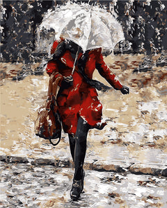 Woman and umbrella against the rain - DIY Paint By Numbers Kits for Adults