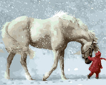 Child in red leading white horse - DIY Paint By Numbers Kits for Adults