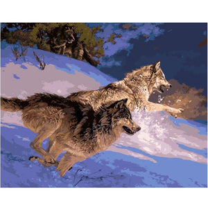 Two wolves running down snowy hill - DIY Paint By Numbers Kits for Adults