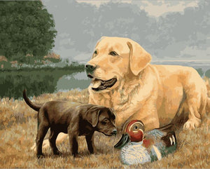 Adult dog and black puppy with duck - DIY Paint By Numbers Kits for Adults