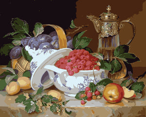 Bowl of raspberries and fruit - DIY Paint By Numbers Kits for Adults