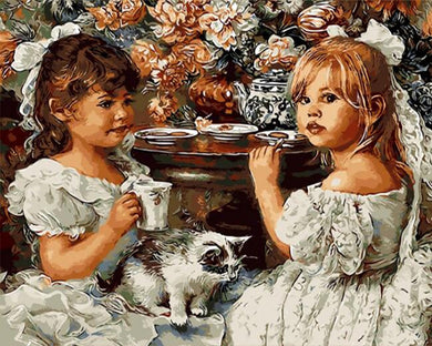 Two girls in white having tea - DIY Paint By Numbers Kits for Adults