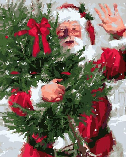 Santa collecting Christmas tree - DIY Paint By Numbers Kits for Adults