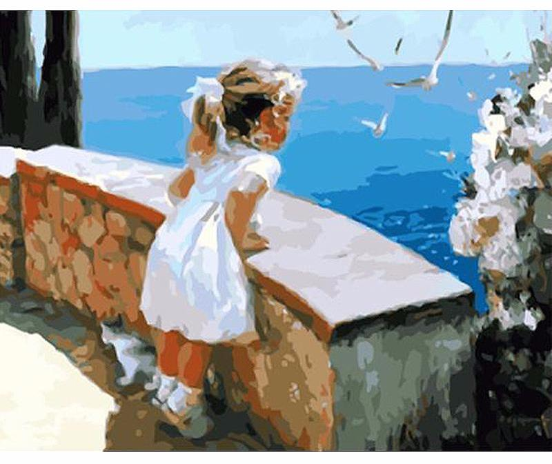 Toddler looking out to sea on balcony - DIY Paint By Numbers Kits for Adults