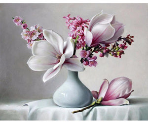 Magnolia Flowers in vase & Magnolia Flowers in vase \u2013 Paint By Numbers