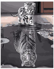 Kitten and grown reflection