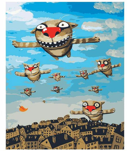 Flying Cartoon Cats