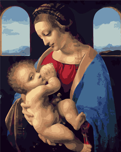 Renaissance woman and newborn