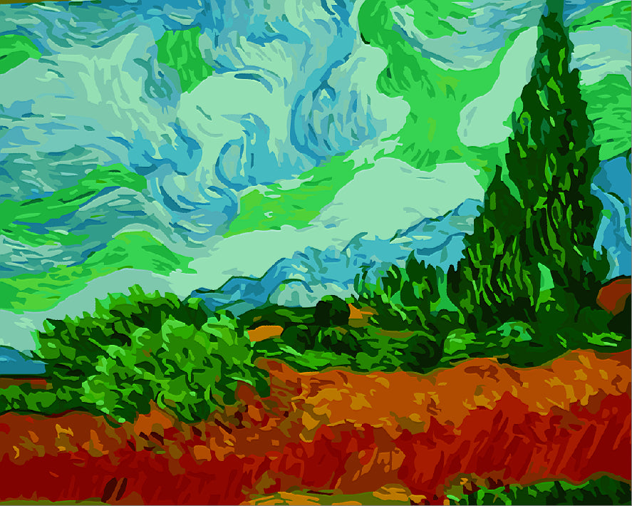 A Wheatfield with Cypresses  - Vincent van Gogh, 1889
