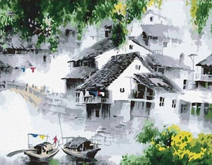 Peaceful village landscape in China