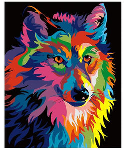 Abstract Colorful Wolf