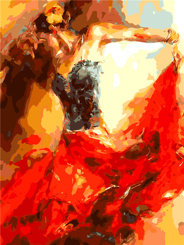 Abstract Woman in Salsa Dress