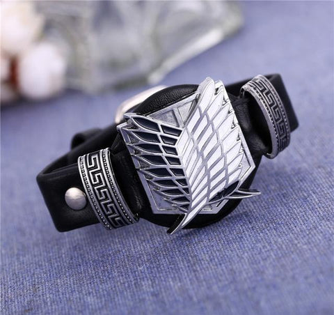 Cosplay Leather Attack on Titan Black Bracelet