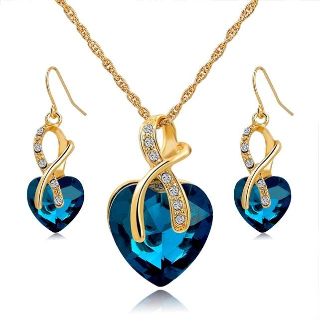 Blue Crystal Heart Necklace Earrings
