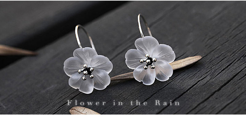 Romantic Flower in the Rain Drop Earrings