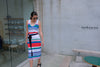 Rainbow Stripe Knit Dress with Belt