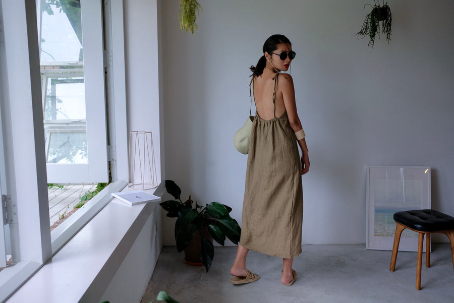 Taupe Tie Up Linen Low Back Apron Dress