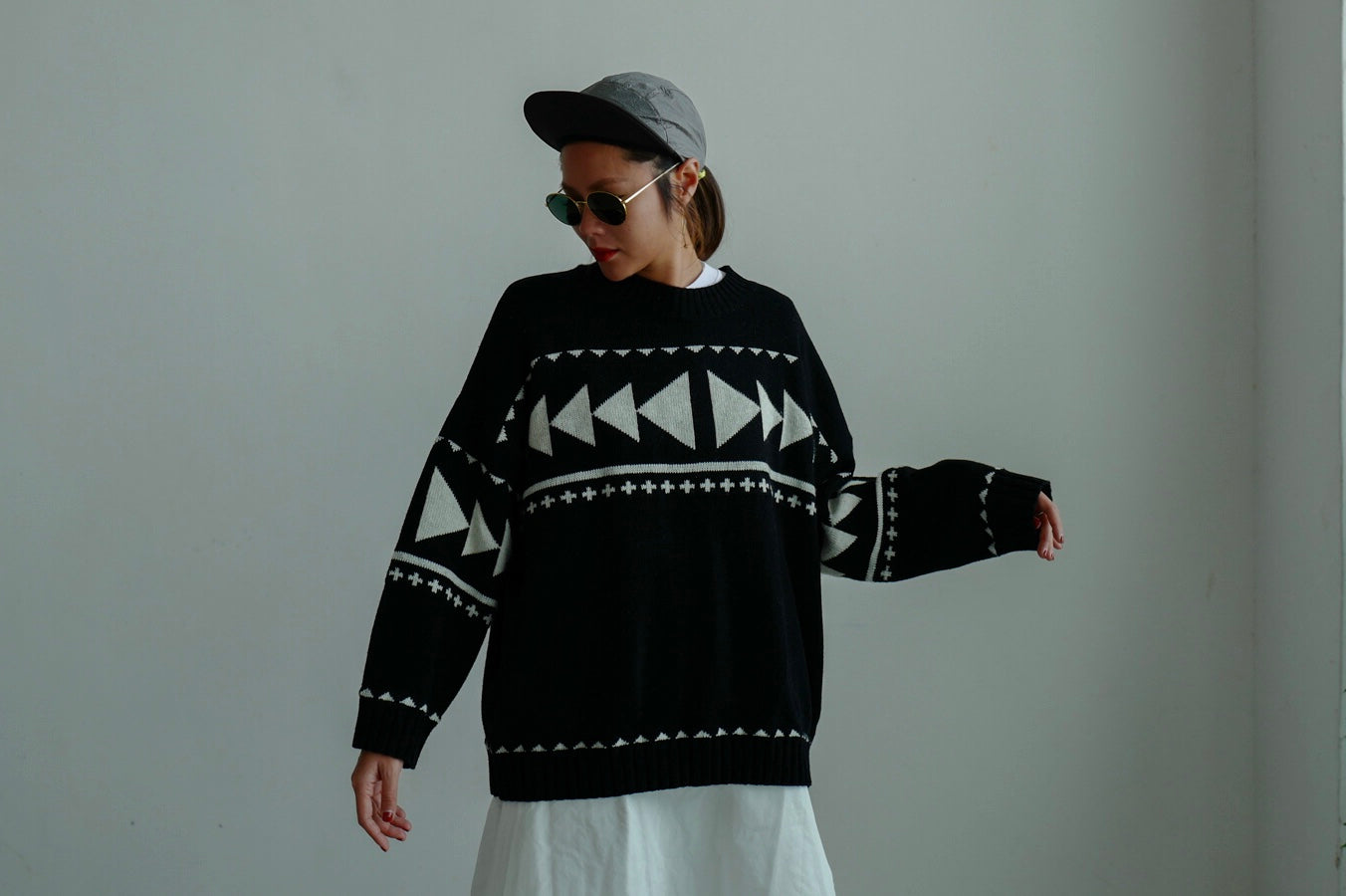 BLACK GEOMETRIC SWEATER *BEST BUY*