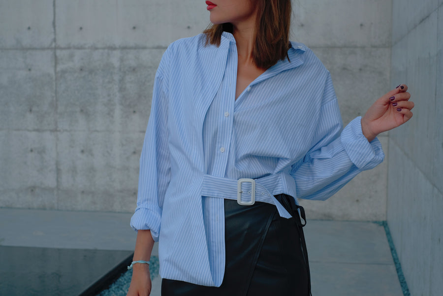 Baby Blue Pinstripe Belted Shirt